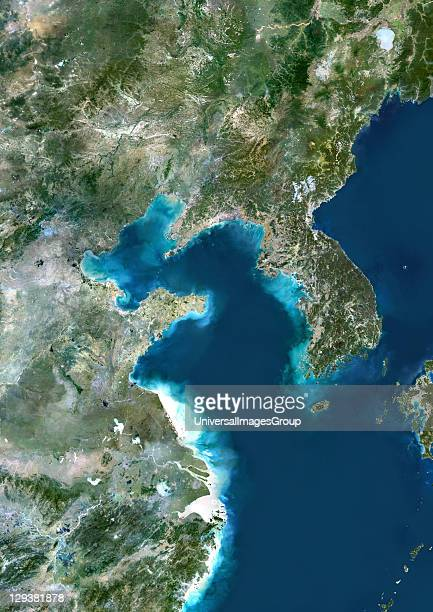 True colour satellite image of the Yellow Sea the northern part of the East China Sea It is located between mainland China and the Korean peninsula...