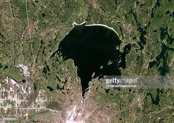 True colour satellite image of Wanapitei Lake impact structure Ontario Canada Image taken on 12 May 1987 using LANDSAT data Wanapitei Lake Meteor...