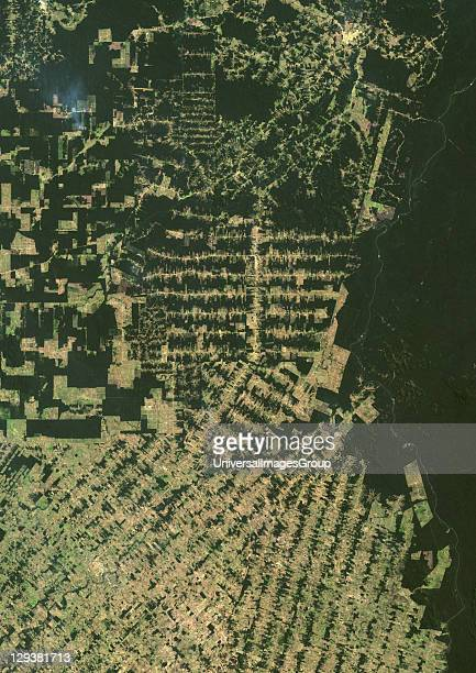 True colour satellite image showing deforestation in Amazonia in the Eastern part of the State of Rondonia Brazil Image in portrait format taken in...