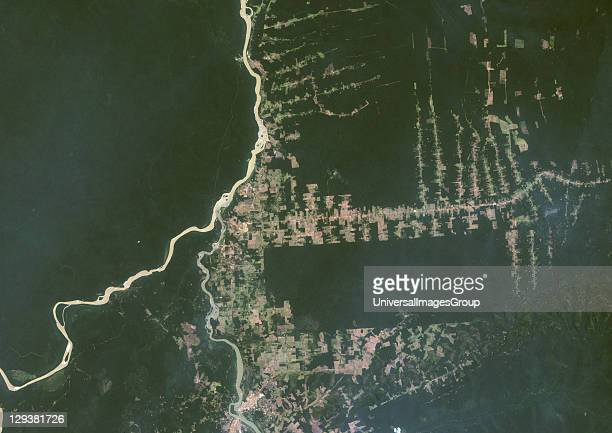 True colour satellite image showing deforestation in Amazonia in the Western part of the State of Rondonia Brazil Image taken on 22 August 2000 using...