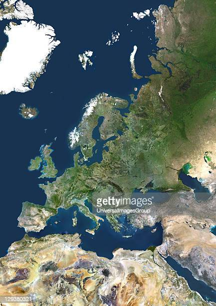 True colour satellite mosaic image of the whole of Europe and Scandinavia The image used data from LANDSAT 5 7 satellites Western Europe True Colour...