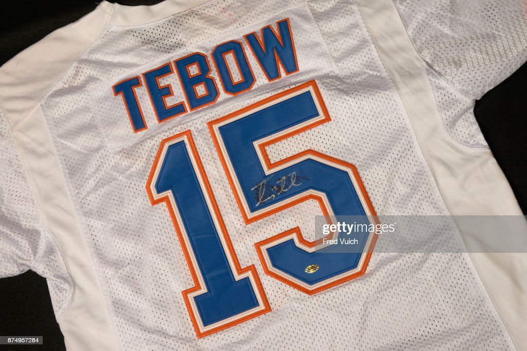 premium selection 59d7d 6a897 Portrait of University of Florida Tim Tebow jersey during ...