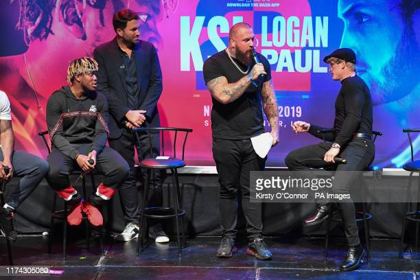 True Geordie alongside Logan Paul and KSI during the press conference at Troxy London