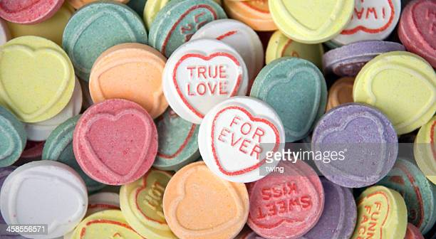 true love & for ever - candy heart stock pictures, royalty-free photos & images