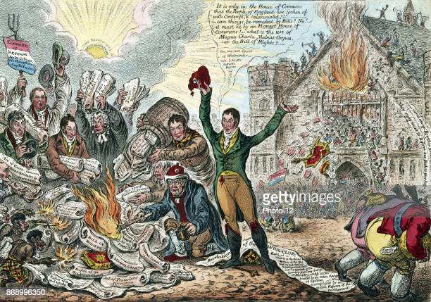 True reform of Parliament ie patriots lighting a revolutionarybonfire in new Palace Yard Print shows Sir Francis Burdett making a speech and waving a...