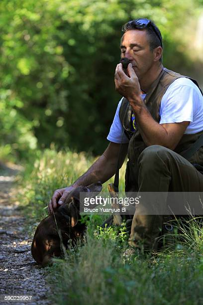A truffle hunter checking on a wild truffle