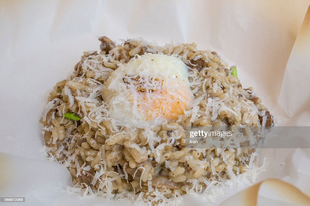 Truffle Risotto with Poached Egg and Parmesan : Stock Photo
