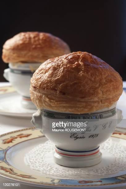 Truffle soup the restaurant 'Paul Bocuse' on February 8 2011 in CollongesauMontd'Or near LyonFrance