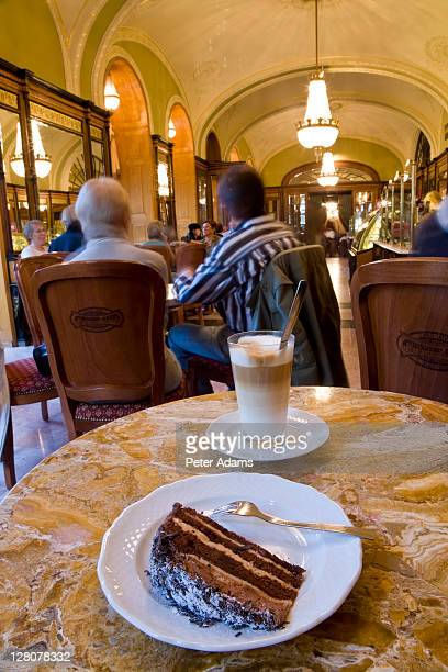 truffle torta layered chocolate cake and coffee drink, budapest, hungary - peter adams stock pictures, royalty-free photos & images