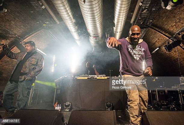 Trugoy, Maseo and Posdnuos of De La Soul perform on stage at The Arches on May 3, 2014 in Glasgow, United Kingdom.