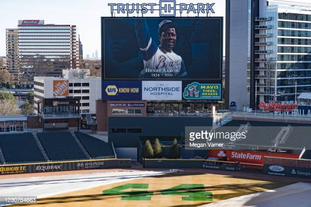 Truist Park honors Hank Aaron the baseball player and beloved community member on January 23, 2021 in Atlanta, Georgia. Hank Played for the Atlanta...