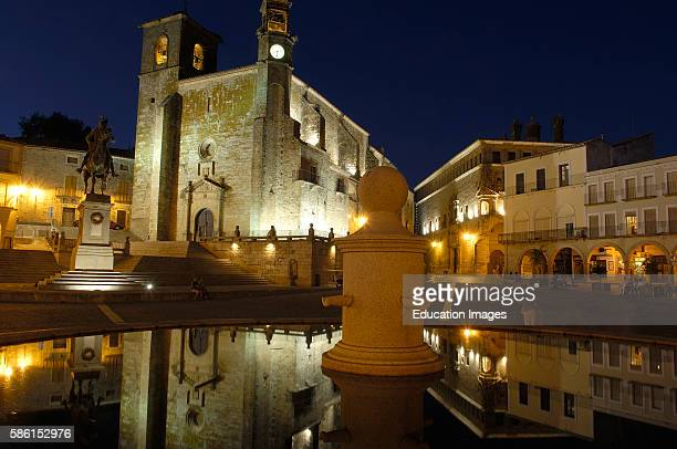 Trujillo Main Square at Dusk Plaza Mayor San Martin church Caceres province Extremadura Spain