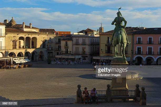 Trujillo Main Square Plaza Mayor Monument to Francisco Pizarro Caceres province Extremadura Spain