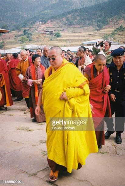 Trulku Jigme Chode at the Khuruthang Lhakhang en route to his winter residence Punakha Bhutan November 2004