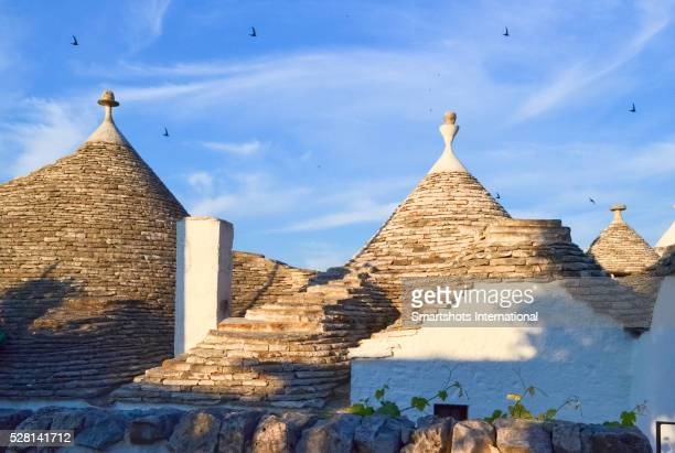 Trulli house domes under the late afternoon sunshine of Alberobello, Italy