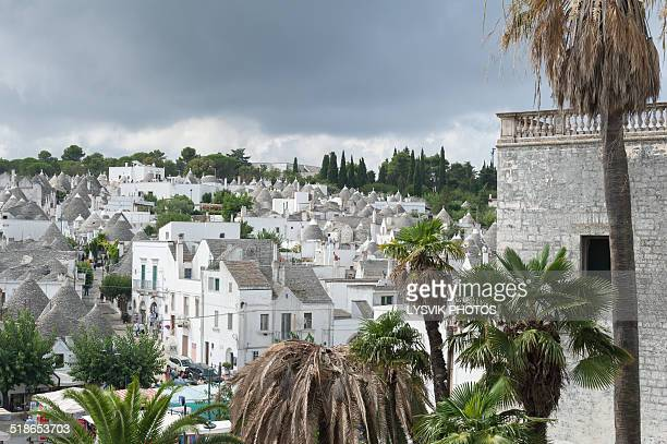 Trulli houses seen from old town of Alberobello