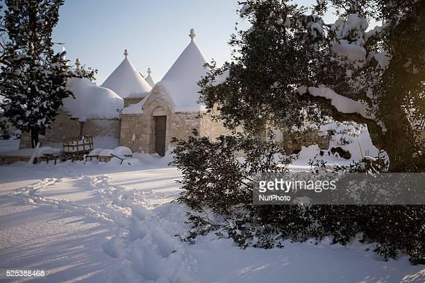 Trulli near Locorotondo in the southern Italian region of Puglia after a sudden snowfall on December 31st 2014