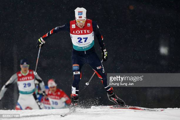 Truls Soenstehagen Johansen of Norway competes in the Individual Gundersen 10km Large Hill during the FIS Nordic Combined World Cup presented by...