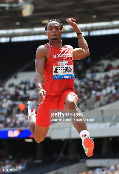 Trumaine Jefferson of the USA competes in the Men's Long Jump during Day One of the Muller Anniversary Games IAAF Diamond League event at the London...