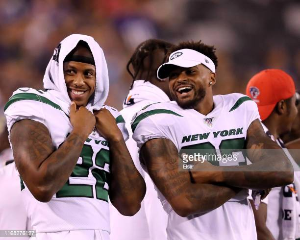 Trumaine Johnson and teammate Jamal Adams of the New York Jets share a laugh during a preseason game against the New York Giants at MetLife Stadium...
