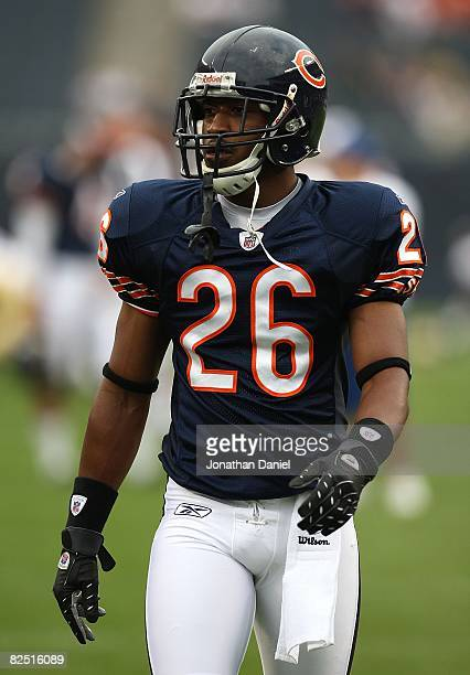 Trumaine McBride of the Chicago Bears participates in warmups before a game against the San Francisco 49ers on August 21 2008 at Soldier Field in...