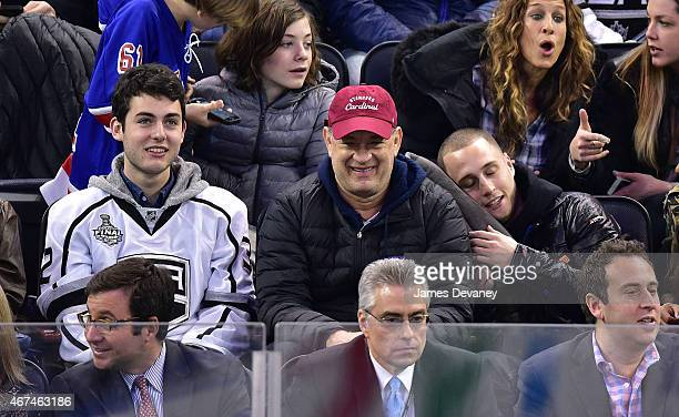 Truman Hanks Tom Hanks and Chet Hanks attend the Los Angeles Kings vs New York Rangers game at Madison Square Garden on March 24 2015 in New York City