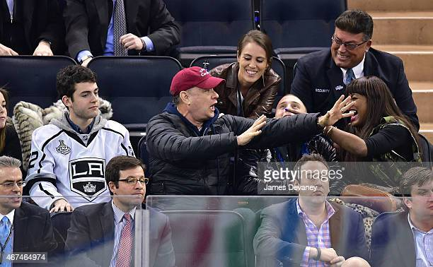 Truman Hanks Tom Hanks Chet Hanks and guest attend the Los Angeles Kings vs New York Rangers game at Madison Square Garden on March 24 2015 in New...