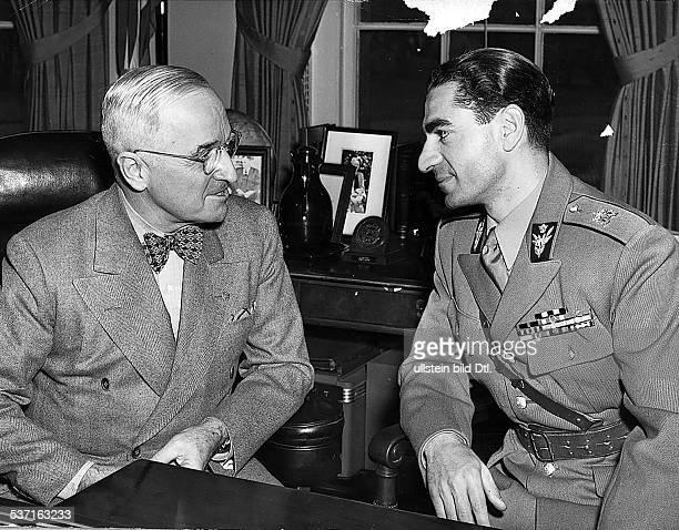 Truman Harry S Staatspraesident USA mit Resa Pahlewi Schah des Iran bei dessen Staatsbesuch in den USA 1950