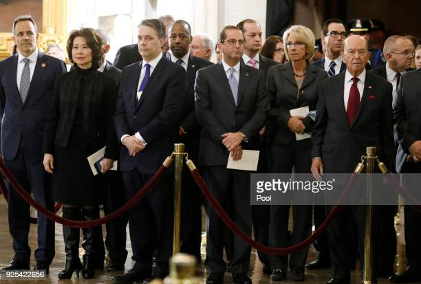 Trump administration cabinet secretaries attend ceremonies as the late evangelist Billy Graham lies in repose at the US Capitol on February 28 2018...