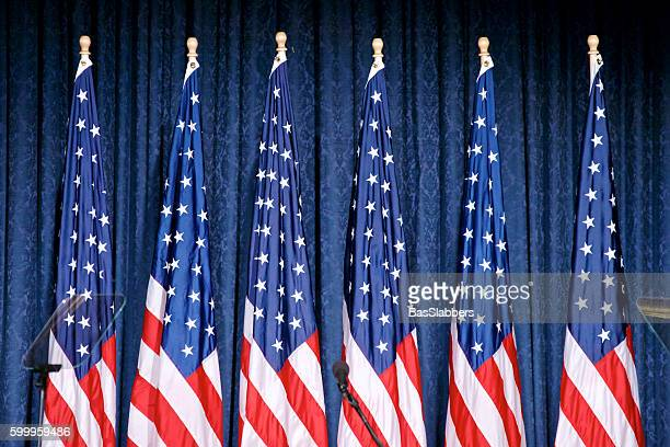 trump announces security policy in philadelphia, pennsylvania - donald trump american flag stock pictures, royalty-free photos & images