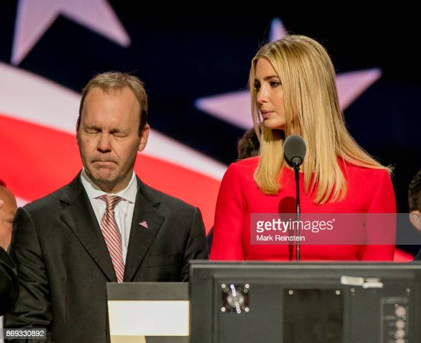 Trump campaign advisor Rick Gates and the candidate's daughter Ivanka Trump on stage during the sound check on the final day of the Republican...