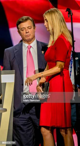 Trump campaign manager Paul Manafort talks with Ivanka Trump during the sound check on the final day of the Republican National Convention at Quicken...