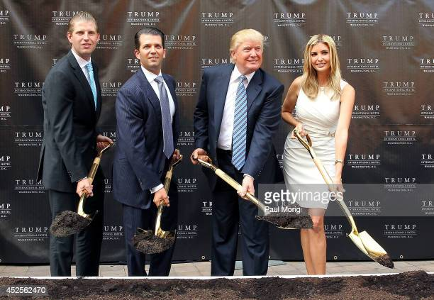 Trump family members Eric Trump Donald Trump Jr Donald Trump and Ivanka Trump break ground at the Trump International Hotel Washington DC...