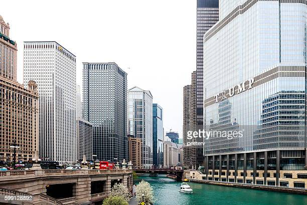 trump international hotel and tower in chicago. - trump chicago stock photos and pictures