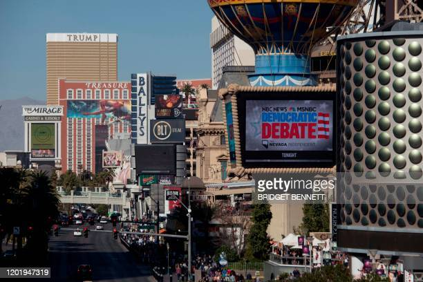 Trump International Hotel is seen in the distance as the Democratic Presidential Debate hosted by NBC News and MSNBC with The Nevada Independent is...