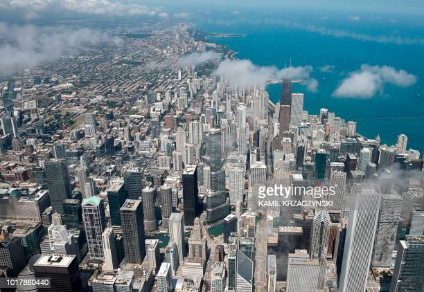 Trump International Hotel Tower Chicago is seen during fly over before the 60th annual Chicago Air and Water Show on August 16 2018 in Chicago...