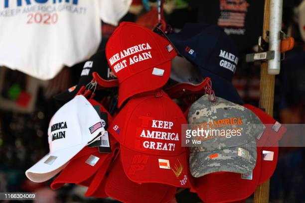 trump maga hats and reelection gear - make america great again stock photos and pictures