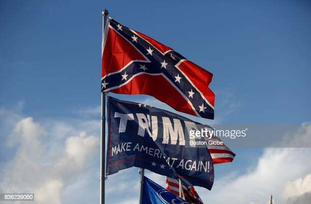 Trump Make America Great Again flag flies below the confederate flag over the Peary's RV in Earhart Campground a private campground adjacent to the...