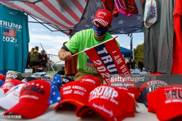 Trump merchandise being sold as the Proud Boys a rightwing proTrump group gather with their allies in a rally called âEnd Domestic Terrorismâ against...