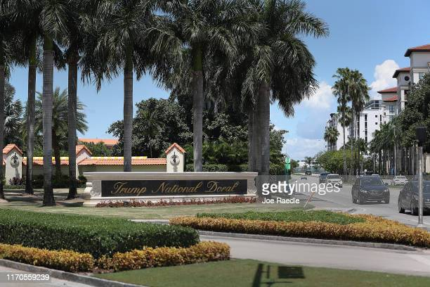 Trump National Doral sign is seen at the golf resort owned by US President Donald Trump's company on August 27 2019 in Doral Florida President Trump...