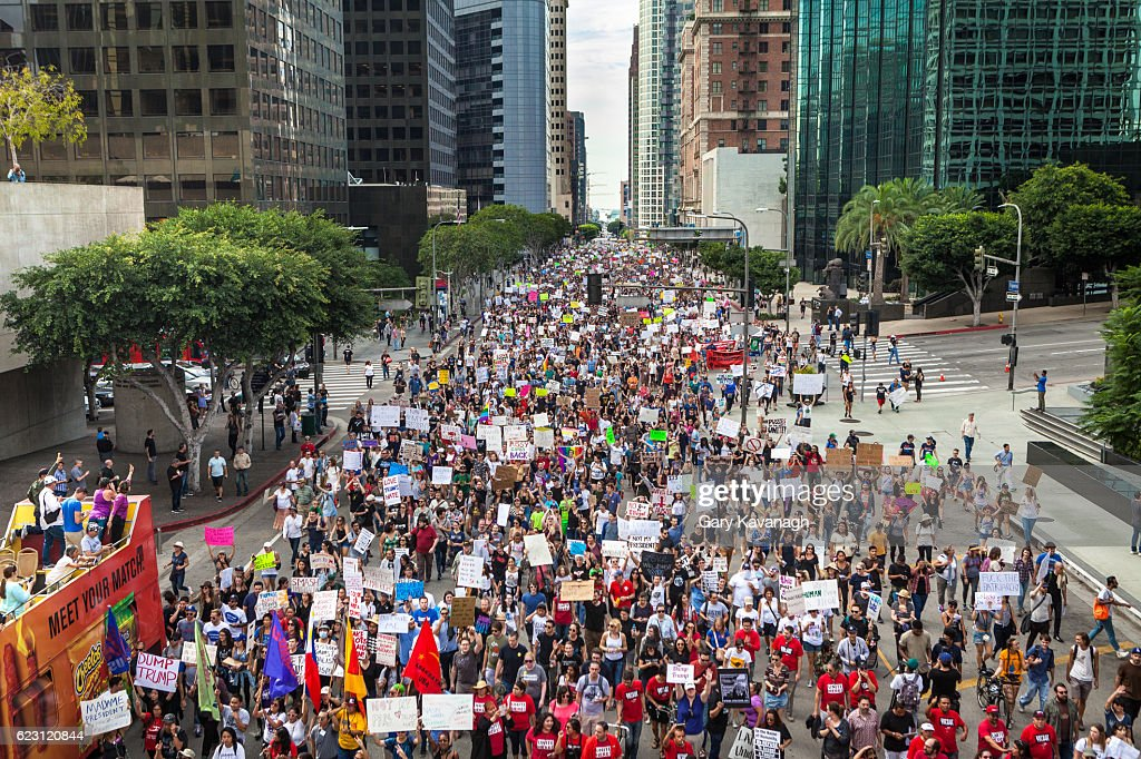 Trump Protest March, Figueroa Street Downtown Los Angeles : Stock Photo