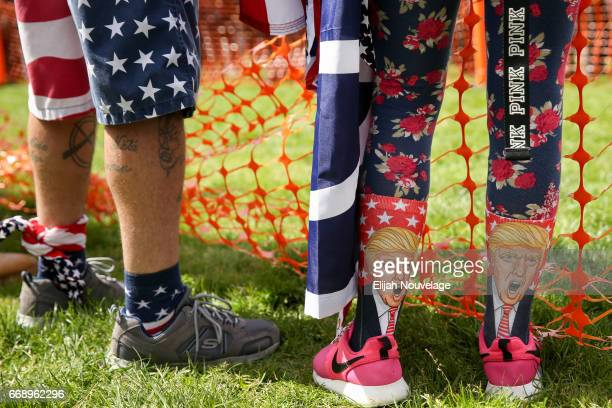Trump supporter sports Trump socks at a Patriots Day free speech rally on April 15 2017 in Berkeley California More than a dozen people were arrested...