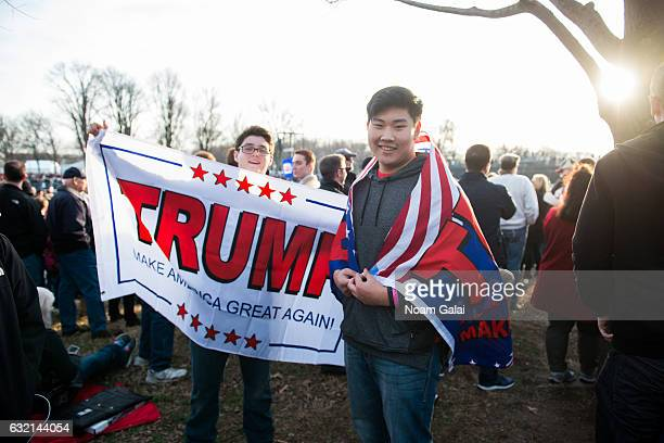 Trump supporters are seen during the Inaugural 2017 Make America Great Again Welcome Celebration on January 19 2017 in Washington DC