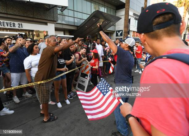 Trump supporters clash with anti-Trump crowd by the Trump Unity Bridge float parked by Trump star on the Walk of Fame in Hollywood on August 18,...