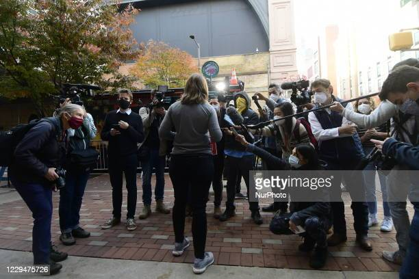 Trump supporters demand to stop the count at a rally outside the Pennsylvania convention Center in Philadelphia, PA on November 5, 2020. Meanwhile...
