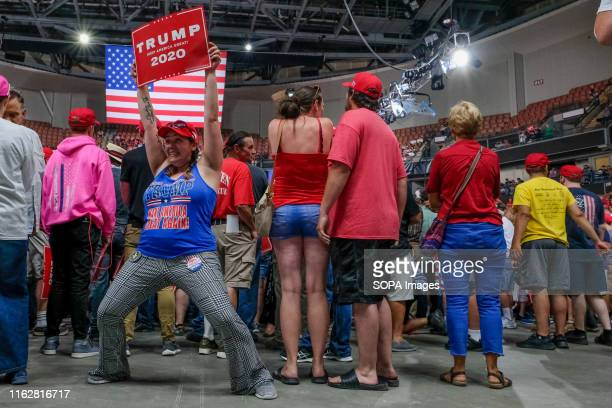 Trump Supporters gather in Manchester, New Hampshire during the MAGA Rally.