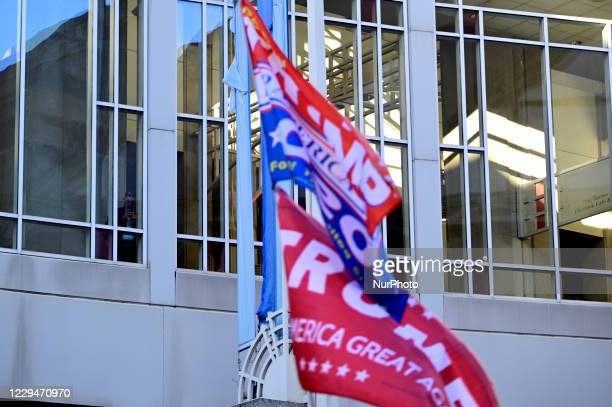 Trump supporters gather outside the Pennsylvania Convention Center in Philadelphia, PA on November 4, 2020 to be the backdrop of a Trump campaign...