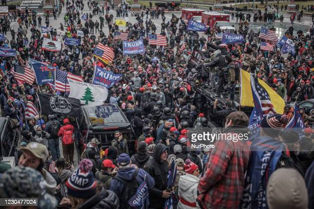 Trump supporters near the U.S. Capitol on January 06, 2021 in Washington, DC. The protesters stormed the historic building, breaking windows and...