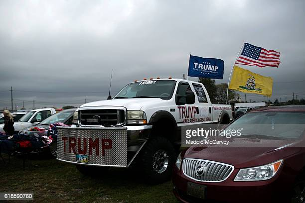 Trump supporter's pickup truck is parked at a rally held by Republican presidential nominee Donald Trump on October 27 2016 in Springfield Ohio Trump...