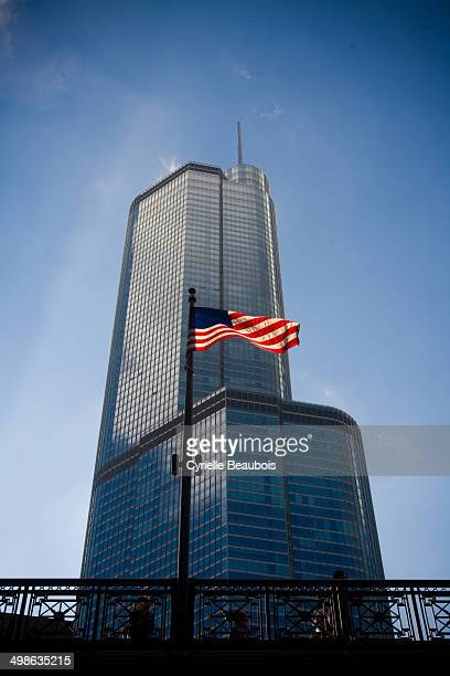 CONTENT] Trump Tower and American flag Chicago Illinois USA
